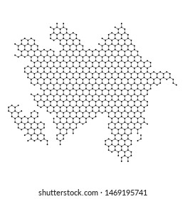 Azerbaijan map from abstract futuristic hexagonal shapes, lines, points black, in the form of honeycomb or molecular structure. Vector illustration.