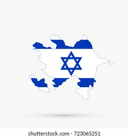 Azerbaijan map in Israel flag colors, editable vector.