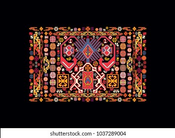 Azerbaijan national carpet pattern.Oriental colorful pattern of mandalas. Vector rich ornament with floral elements. Template for textile, carpet, shawl.