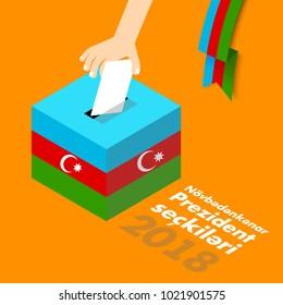 Azerbaijan Presidental election vector illustration flag baku hand paper ribbon