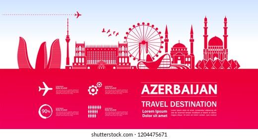 Azerbaijan Travel Destination vector.