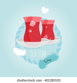 Azerbaijan, Turkey Tea Cup Armudi Stakan with sugar vector illustration.Tea glasses on blue sky cloud background. East national culture. Logo icon. Flat design greeting card template.