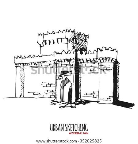 Azerbaijan urban sketch castle historical monument stock vector castle historical monument building hand drawn vector illustration freehand maxwellsz