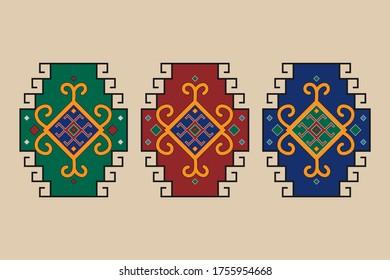 Azerbaijani carpet ornaments vector, Karabakh carpets ornaments. Eastern ornaments