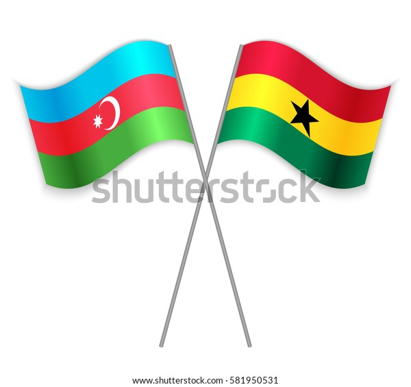 Azerbaijani and Ghanaian crossed flags. Azerbaijan combined with Ghana isolated on white. Language learning, international business or travel concept.
