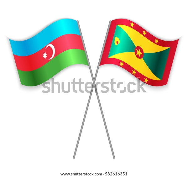 Azerbaijani and Grenadian crossed flags. Azerbaijan combined with Grenada isolated on white. Language learning, international business or travel concept.