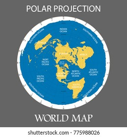 Azimuthal equidistant projection. Vector map of the world.