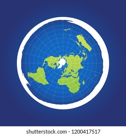 Azimuthal projection flat land on dark background. Vector Illustration.