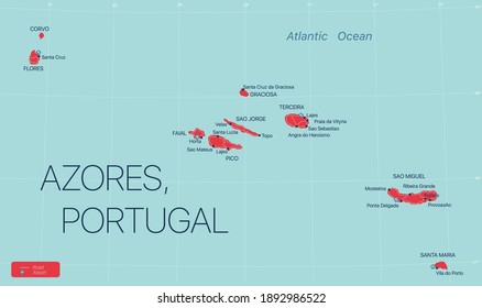 Azores islands, Portugal, detailed editable map with cities and towns, roads and railways. Vector EPS-10 file