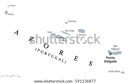 Azores Political Map Capital Ponta Delgada Stock Vector (Royalty ...