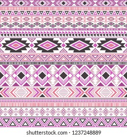 Aztec american indian pattern tribal ethnic motifs geometric vector background. Doodle native american tribal motifs textile print ethnic traditional design. Mexican folk fashion.