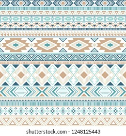 Aztec american indian pattern tribal ethnic motifs geometric seamless background. Eclectic native american tribal motifs textile print ethnic traditional design. Mexican folk fashion.