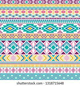 Aztec american indian pattern tribal ethnic motifs geometric seamless background. Unusual native american tribal motifs textile print ethnic traditional design. Mayan clothes pattern design.
