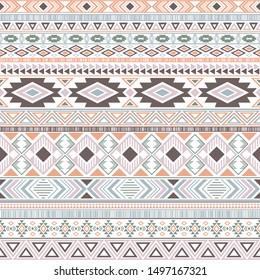 Aztec american indian pattern tribal ethnic motifs geometric seamless background. Graphic native american tribal motifs textile print ethnic traditional design. Aztec symbol fabric print.