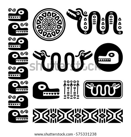Aztec Animals Mayan Snake Ancient Mexican Stock Vector Royalty Free