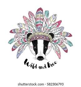 aztec badger in war bonnet, animal illustration