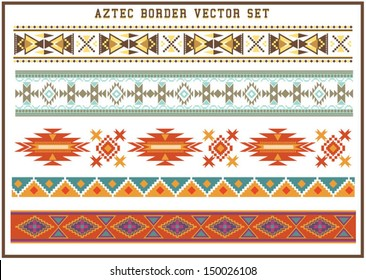 Aztec borders vector set