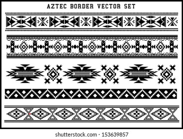 Aztec borders vector set Black and White