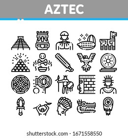 Aztec Civilization Collection Icons Set Vector. Aztec Antique Pyramid And Gold, Bird And Animal, Cozcacuauhtli And Mystic Totem Concept Linear Pictograms. Monochrome Contour Illustrations