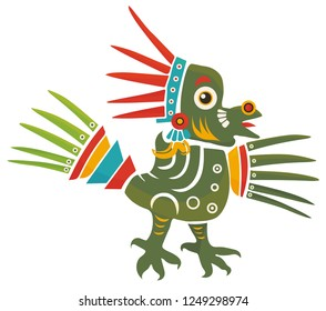 Aztec Codex Borbonicus art imitation vector illustration. Tribal native Mexican american bird feathered totem. Aztec Bird god isolated.