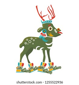 Aztec Codex Borbonicus art imitation vector illustration. Tribal native mexican american Deer. Aztec Deer isolated. Great also as Christmas Reindeer.