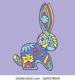Aztec colorful hare ancient decor element. Mexican traditional historical character. Vector illustration