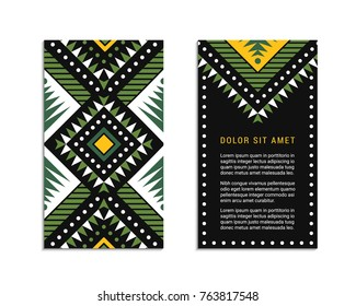 Aztec colorful ornamental card template shades of green. American indian leaflet design. Tribal decorative pattern. Ethnic ornate background. Vintage style flyer. EPS 10 vector brochure.