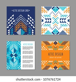 Aztec colorful square card template. American indian design. Tribal decorative pattern. Ethnic ornate background. Vintage style flyer. EPS 10 vector brochure set.