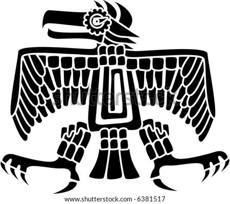 Aztec Eagle Aztec Mayan Eagle Deity Stock Vector Royalty Free