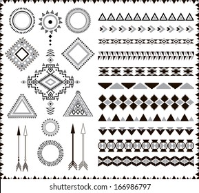 Aztec elements. Can be used in fabric design; decorative paper, wrapping, envelope; web design, etc.