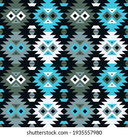 Aztec elements. Mosaic with geometric shapes. Seamless pattern. Design with manual hatching. Textile. Ethnic boho ornament. Vector illustration for web design or print.