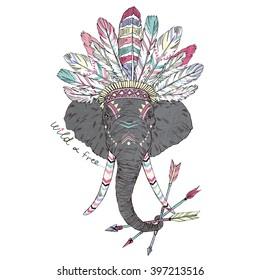 aztec elephant, summer art print, animal illustration