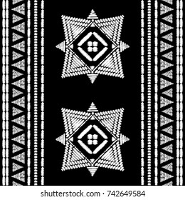 Aztec embroidery pattern design seamless vector. Abstract geometric border texture with ikat boho style. Tribal print with indian, african, native american, peru, chile, mexican ornament motif.