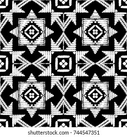 Aztec embroidery pattern design seamless vector. Abstract geometric texture with stitch handmade ornament motif. Ethnic print for boho home decor textile, rug, pillow case, blanket, fashion fabric.