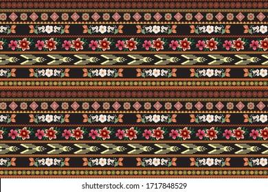 Aztec Exotic Border Vector Design.Black Background