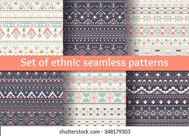 Aztec geometric backgrounds. Set of six ethnic seamless patterns. Stylish navajo design. Modern handmade abstract wallpaper. Vector illustration.
