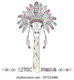 Aztec giraffe, summer art print, animal illustration