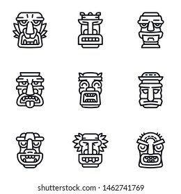 Aztec idol icon set. Outline set of 9 aztec idol vector icons for web design isolated on white background