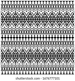 Aztec ikat ethnic seamless pattern design in black and white color. Ethnic Illustration vector