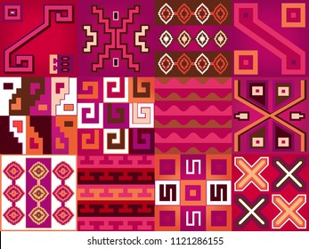 Aztec language pattern design seamless vector. Abstract geometric border texture boho style. Chile ornament motif. Vector illustration for web or print design.