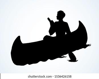 Aztec male leisure drift on white pond text space. Dark black hand drawn ethnic west usa apache human maya oarsman outdoor logo. Pictogram emblem label design. Retro art cartoon engrave contour style