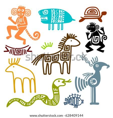 Aztec Maya Ancient Animal Symbols Isolated Stock Vector Royalty