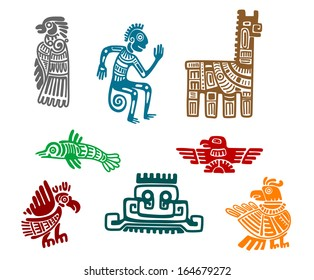 Aztec and maya ancient drawing art isolated on white background