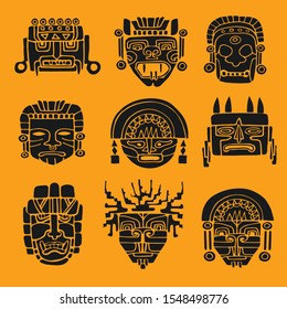 Aztec, Maya Or Inca Traditional Masks. Set With Different Black Masks On Yellow Background. Hand Drawn Vector Illustration.