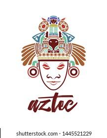 aztec maya mask art deco textile t shirt design