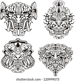 Aztec monster totem masks. Set of black and white vector illustrations.