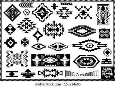 Aztec Native Navajo design elements vector set