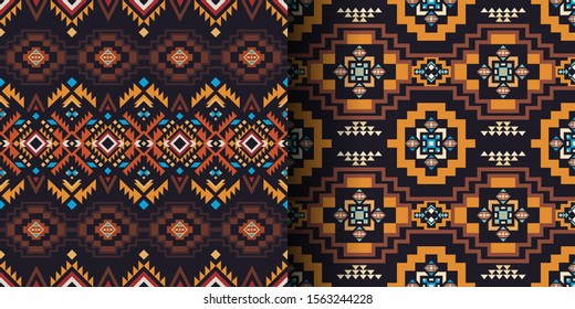 Aztec, Navajo, African geometric seamless patterns. Native American Southwest prints. Ethnic design wallpaper, fabric, cover, textile, rug, blanket.