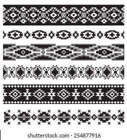 Aztec Navajo border vector illustration set