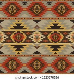 Aztec, Navajo geometric seamless pattern. Native American Southwest print. Ethnic design wallpaper, fabric, cover, textile, rug, blanket.